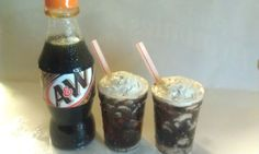 icy cold bottle of  Root beer and 2  glasses of soda for a 18 inch american girl doll