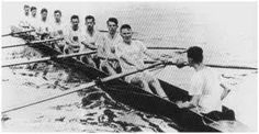 1924 Yale Olympic gold medal crew with Benjamin Spock stoke and James Rockefeller, 6 seat.