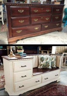 Old Furniture Into Fresh Finds for Your Home A beat-up dresser from the has a whole new life…a bench with storage plus a built-in side table.A beat-up dresser from the has a whole new life…a bench with storage plus a built-in side table. Refurbished Furniture, Repurposed Furniture, Painted Furniture, Upcycled Furniture Before And After, Vintage Furniture, Farmhouse Furniture, Farmhouse Bench, Luxury Furniture, Contemporary Furniture