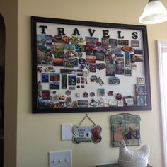 """Souvenir magnet display board"" - Collection of magnets from places visited around the world :D  Can't wait to start!!"