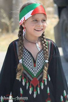 Sweet Palestinian girl Aryan looking , they are not Semitic that way Zionist hate them Palestine Girl, Palestine History, Religion, Palestinian Embroidery, Kids Around The World, Arab Girls, The Beautiful Country, Traditional Dresses, Cute Kids