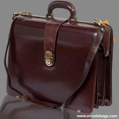 Marino Orlandi Professional Chestnut Leather Briefcase Doctor Bag $525.00