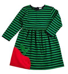 Florence Eiseman Girls Navy / Green Striped Big Red Apple Dress