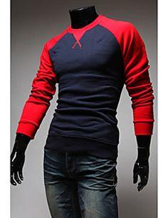 Collar Raglan Redonda do Manwear Homens T-shirt de mangas compridas (azul escuro)