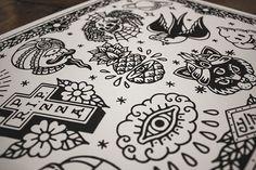 """""""Flash"""" print - 40x30cm - hand printed Available at yeaaah-studio.com #yeaaahstudio #イェーッ #yeaaah #tattooflash #tattoo #blackworkers #screenprint #blackwork"""