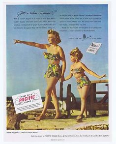 0ea4462527 Vintage Catalina swim suit ad with mother and daughter in darling matching  two-piece bathing suits swimwear / bathing suit