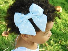 Light Blue Oversized Bow - Polka Dot Hair Accessory $2.50
