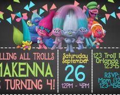 Invitación del cumpleaños de trolls Trolls por HappyColorsDesign
