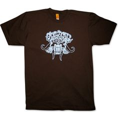 MUSTACHE RIDERS men's brown & blue t-shirt - Screamin' through a canyon ten miles wide; With brooms on our lips and dust in our eyes; We came upon what looked like heavenly skies; A couple of chicks with some tall tanned thighs...