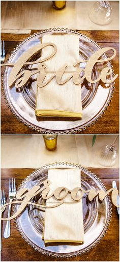 Wedding reception placesetting ideas, wooden bride & groom signs, clear plates, champagne colored napkins //  Jannette De Llanos Photography