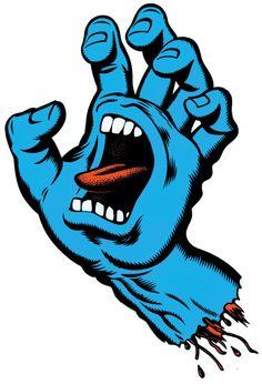 'Screaming Hand' Logo design for Santa Cruz Skateboards, by Jim Phillips - iconic image, one of the most famous skateboard graphics to go mainstream Skateboard Logo, Skateboard Design, Finger Skateboard, Art Patin, Spitfire Skate, Santa Cruz Logo, Santa Cruz Hand, Desenho New School, Hand Wallpaper