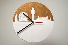 London City Skyline Modern Wall Clock Wooden by CraftAvenueStore