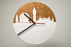 London City Skyline Modern Wall Clock Wooden by CraftAvenueStore