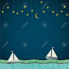 Dos veleros en una noche llena de estrellas. Ilustraciones Vectoriales.