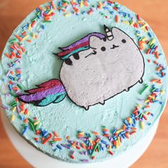 Check out this amazing fan made Pusheenicorn cake by @erin.bakes