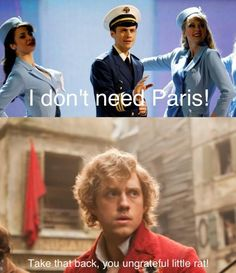 Enjolras disses Paris. Enjolras is not happy about this.AHHHH AARON! CATCH ME IF YOU CAN AND LES MIS <3