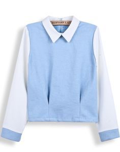 Blue Contrast Lapel Long Sleeve Crop Blouse US$31.48