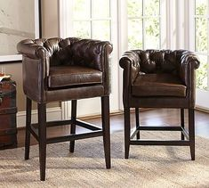 Chesterfield Barstool #potterybarn ... LOVE these barstools ... DO NOT love the PRICE!!!