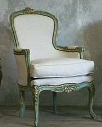 Vintage French Style Louis XV Shabby Mint & Gilt  Armchairs Pair-antique, gold,French,bedroom, livingroom, furniture, rose, floral, crest,cabriole, elegant
