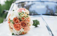 Download imagens buquê de casamento, 4k, laranja as rosas, peônias, o carro de casamento, rosas, casamento