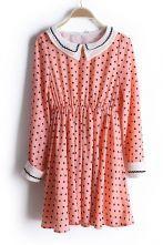 Pink Lapel Polka Dot Elastic Waist Dress $38.71  SKU:dress13022511