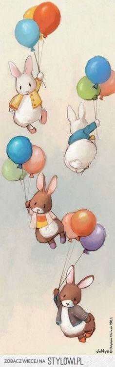Bunny and balloons illustration - The sweetest :) Lapin Art, Bunny Art, Children's Book Illustration, Balloon Illustration, Art Illustrations, Nursery Art, Cute Art, Illustrators, Balloons