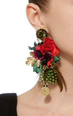 Handcrafted in India, Ranjana Khan's 'Leme' statement earrings are collaged with vibrant silk and velvet flowers accented by feathers. Textile Jewelry, Fabric Jewelry, Diy Jewelry, Handmade Jewelry, Women Jewelry, Jewelry Design, Jewellery Rings, Amber Jewelry, Cherry Earrings