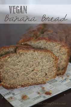 Yummy moist and dense Vegan Banana Bread. This is my favorite banana bread recipe.  Love it!