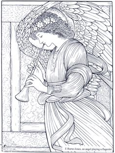 An Angel, by Burne-Jones: This site makes you sit through a short ad before loading the coloring page.