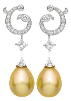 Tahitian Pearls Amp Diamond Earrings In 18k White Gold