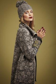 Oleana Alpaca Long Cardigan with Collar Design 414-D, Alpaca Scarf Design 415-D, Alpaca Hat Design 416-D, Wristlets Design 194-O, Oleana Nor...