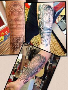 Gates To Heaven- Modznrockers, BLackpool. #Gate #Heaven #Cloud #Memorial #Blackandgrey #Tattoo #Freehand #Custom