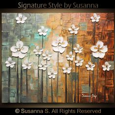 Art ORIGINAL Abstract Landscape Oil Painting White Flower Blossom Texture Art Modern Brown Blue Painting Acrylic Home Decor by Susanna