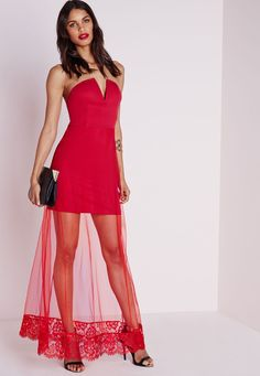 Missguided - Crepe Maxi Mesh Overlay Dress Red