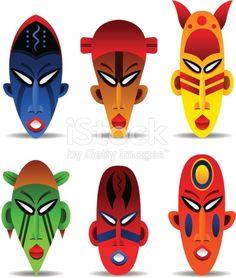 Vector illustration set of six african masks