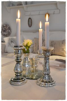I collect mercury glass candlesticks...swoon!