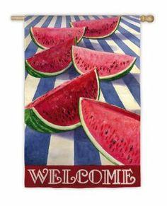 Watermelon Stripe Garden Flag