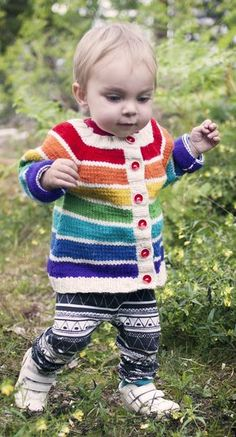 Free Knitting Pattern for Rainbow Cardigan - This simple top-down raglan striped cardigan has short row shaping for a better fit and is slightly A-line shaped. Sized for babies and toddlers sizes 1 (2) 3-4 years. Designed by Clara Falk