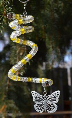 Beautiful Yellow Glass Beaded Spiral Suncatcher Mobile by AbracadabraBeads on Etsy https://www.etsy.com/listing/218791416/beautiful-yellow-glass-beaded-spiral