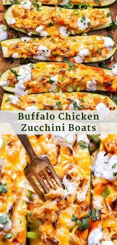 Buffalo Chicken Zucchini Boats are a great way to turn your favorite dip into a healthy and easy to make weeknight dinner! Top them with a quick homemade ranch dressing to balance the heat from the hot sauce. #buffalochicken #zucchiniboats #zucchini #chickenrecipes #chickendinner #lowcarb #glutenfree #healthydinner #easyrecipe Duck Recipes, Best Chicken Recipes, Turkey Recipes, Chicken Zucchini Boats, Appetizer Recipes, Dinner Recipes, Good Healthy Recipes, Buffalo Chicken, The Help