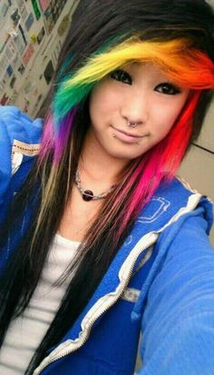 Trendy hair rainbow highlights i love Cute Hair Colors, Different Hair Colors, Cool Hair Color, Rainbow Hair Highlights, Hair Rainbow, Rainbow Face, Emo Scene Hair, Style Rock, Alternative Hair