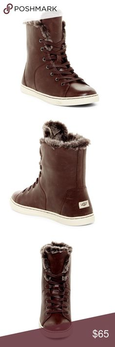 """UGG Australia Genuine Shearling High Top Sneaker - Round toe  - Lace-up closure  - UGGpure lining   - PORON(R) and foam-cushioned footbed  - Approx. 4"""" shaft height  Leather upper, genuine shearling and UGGpure and textile lining, rubber sole UGG Shoes Sneakers"""