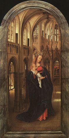 Jan Van Eyck. La Madonna nella chiesa, 1425 circa. Tavola di quercia centinata, 31x14 cm - Gemäldegalerie Berlino