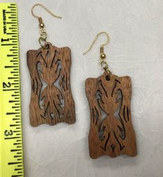 Koa Laser Cut Earrings, Hawaiian Island Koa, The Makery Earrings,