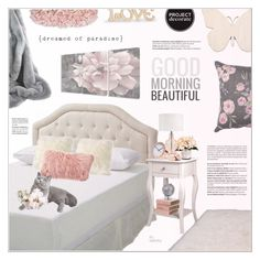 """Grey + Pink Bedroom"" by befunky ❤ liked on Polyvore featuring interior, interiors, interior design, home, home decor, interior decorating, Noble House, nuLOOM, Altra and Ballard Designs"