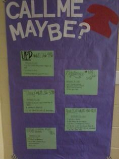"""my """"call me maybe poster"""" - has important numbers residents may need! including my number as the RA, university police, maintenance, the health clinic, and counseling services!"""