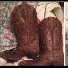 Size 7 1/2 Laredo boots. Size 7 1/2 Laredo boots. Brown with black inlays. Worn once. Smoke free home. Laredo Shoes Heeled Boots