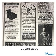 Throwback to 20 years ago where newspaper ads were the only way to reach our customers.  Add #WoodMateWindows to your homes #tbt #throwbackthursday #steel #steeldoorsandwindows #beautifulwindows #beautifuldoors #Beautifulhomes #interiors #architecture #Bangalore #DeccanWoodMate #DeccanoCasements #bengaluruarchitects Steel Doors And Windows, Upvc Windows, The Only Way, 20 Years, Newspaper, Beautiful Homes, Interiors, Ads, Cool Stuff