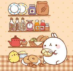 This is making me hungry 😋 Chibi Kawaii, Cute Chibi, Kawaii Art, Cute Backgrounds, Cute Wallpapers, Pikachu Pikachu, Cute Kawaii Drawings, Kawaii Illustration, Molang