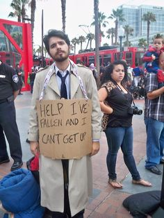 Cas cosplay from ComicCon. This is like 0% okay, yet 100% awesome.